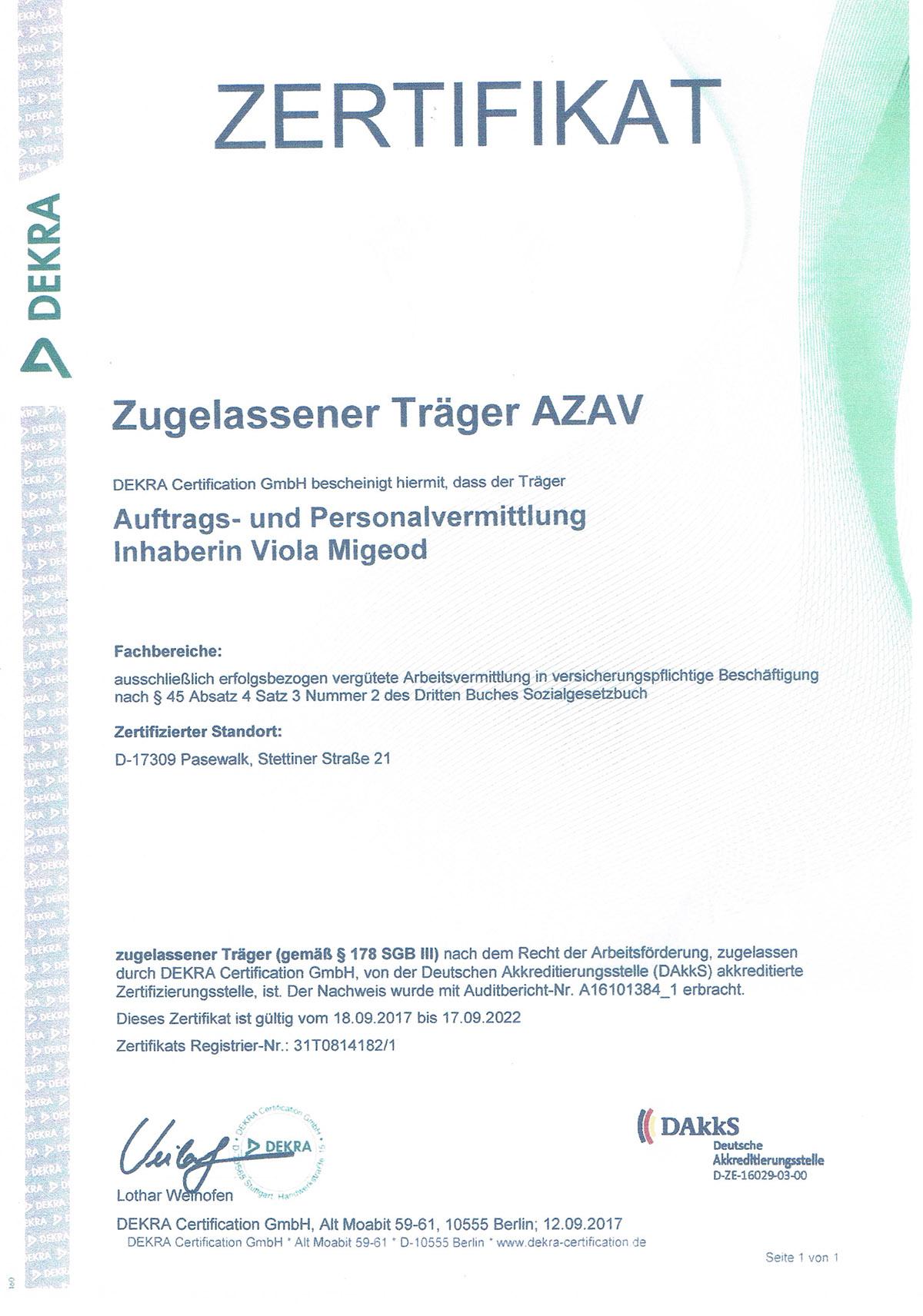 Zugelassener Träger AZAV